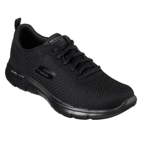 All Black Skechers Flex Appeal 2.0 Newsmaker Womens Lace Up 12775  Work Shoe WIDE WIDTH