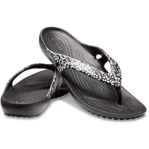 Crocs Womens Kadee II Graphic Flip Jandal Black Dots womens 7-9