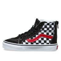 Vans - SK8 Hi Zip Check - Youths Checkerboard Red Sidestripe  sizes 11-4