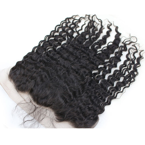 Deep Wave Virgin Human Hair 13x6 Lace Frontal Hair Closure - NiceHair