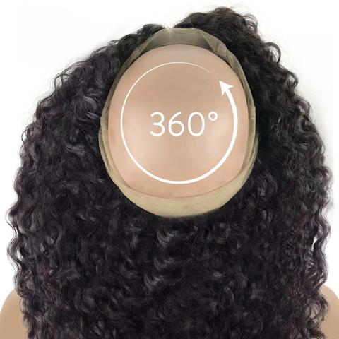 Deep Wave Virgin Human Hair 360 Lace Frontal Closure - NiceHair