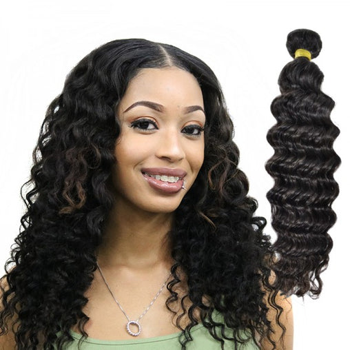 Malaysian Deep Wave Virgin Human Hair Weave Bundles Natural Color 8-28 Inches - NiceHair