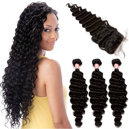 Brazilian Deep Wave Virgin Human Hair 3 Bundles With Lace Closure - NiceHair
