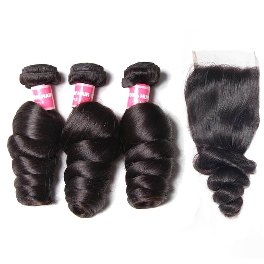 Brazilian Loose Wave Virgin Human Hair 3 Bundles With Lace Closure - NiceHair