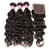 Brazilian Natural Wave Human Hair 3 Bundles With Lace Closure