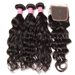 Brazilian Natural Wave Human Hair 3 Bundles With Lace Closure - NiceHair