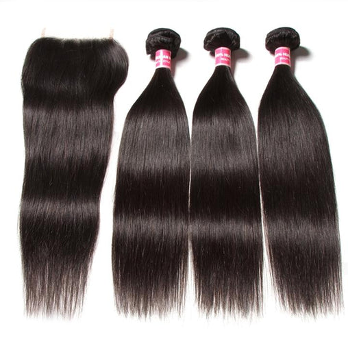 Brazilian Straight Hair Human Hair 3 Bundles With Lace Closure - NiceHair