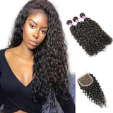 Brazilian Water Wave Human Hair 3 Bundles With Lace Closure