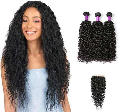 Cambodian Natural Wave Virgin Human Hair 3 Bundles With Lace Closure - NiceHair