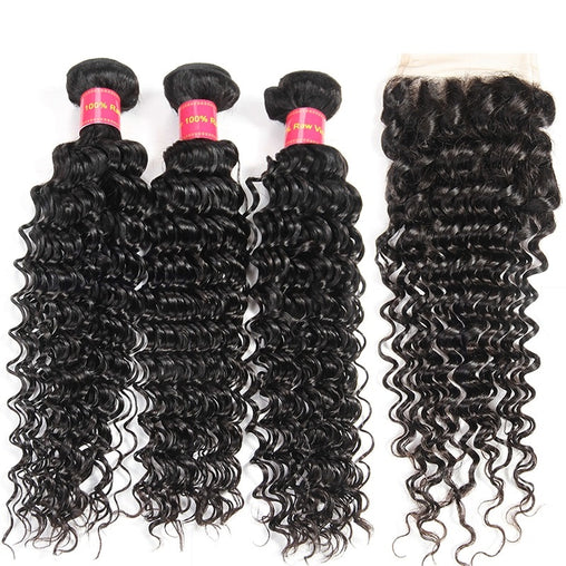 Cambodian Deep Wave Human Hair 3 Bundles With Lace Closure - NiceHair