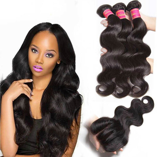 Indian Body Wave Virgin Virgin Human Hair 3 Bundles With Lace Closure - NiceHair