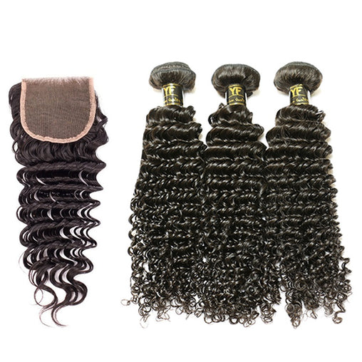 Indian Deep Wave Human Hair 3 Bundles With Lace Closure - NiceHair