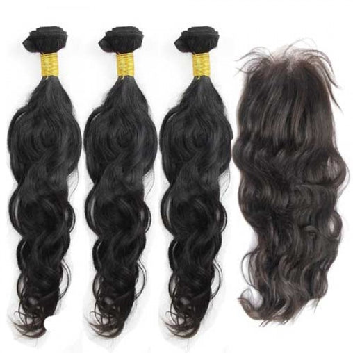 Indian Natural Wave Human Hair 3 Bundles With Lace Closure - NiceHair