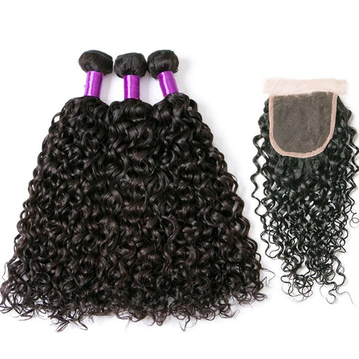 Indian Water Wave Virgin Human Hair 3 Bundles With Lace Closure - NiceHair