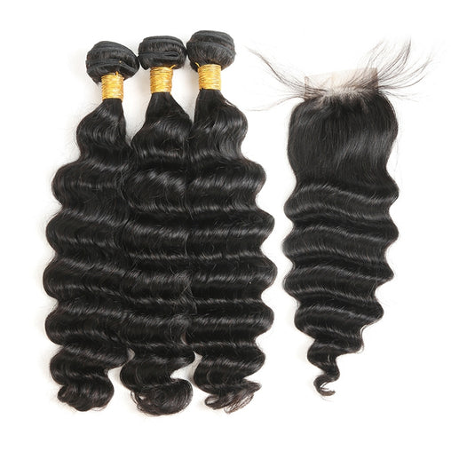Malaysian Deep Wave Virgin Human Hair 3 Bundles With Lace Closure - NiceHair