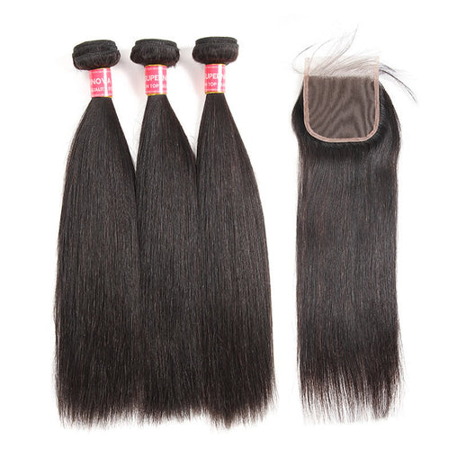Malaysian Straight Virgin Human Hair 3 Bundles With Lace Closure - NiceHair
