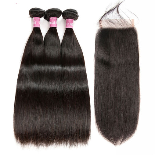 Cambodian Straight Virgin Human Hair 3 Bundles With Lace Closure - NiceHair
