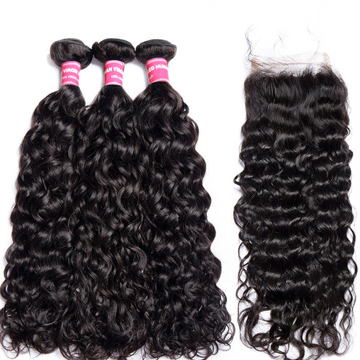 Malaysian Water Wave Virgin Human Hair 3 Bundles With Lace Closure - NiceHair