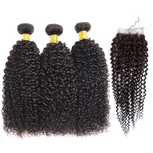 Cambodian Kinky Curly Human Hair 3 Bundles With Lace Closure - NiceHair