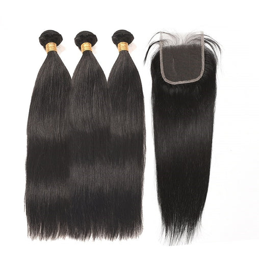 Mongolian Straight Virgin Human Hair 3 Bundles With Lace Closure - NiceHair