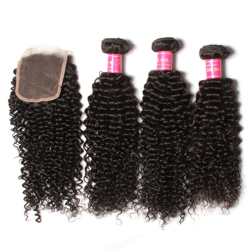 Mongolian Kinky Curly Virgin Human Hair 3 Bundles With Lace Closure - NiceHair