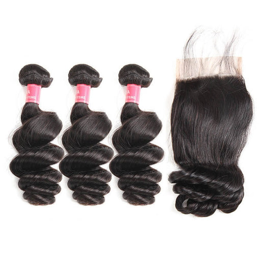Mongolian Loose Wave Virgin Human Hair 3 Bundles With Lace Closure - NiceHair