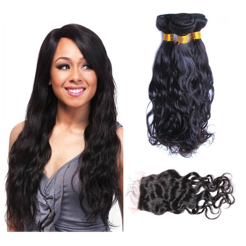 Mongolian Natural Wave Virgin Human Hair 3 Bundles With Lace Closure - NiceHair