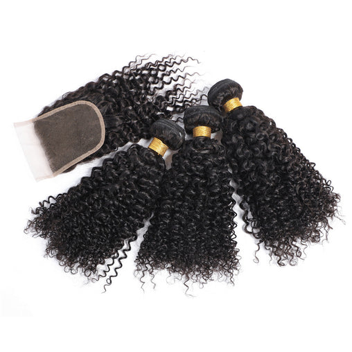 Mongolian Water Wave Virgin Human Hair 3 Bundles With Lace Closure - NiceHair