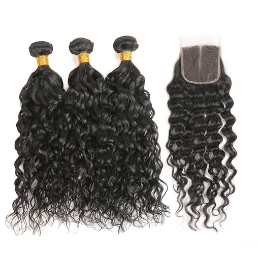 Cambodian Water Wave Virgin Human Hair 3 Bundles With Lace Closure - NiceHair