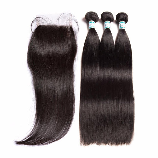 Brazilian Body Wave Virgin Human Hair 3 Bundles With Lace Closure - NiceHair