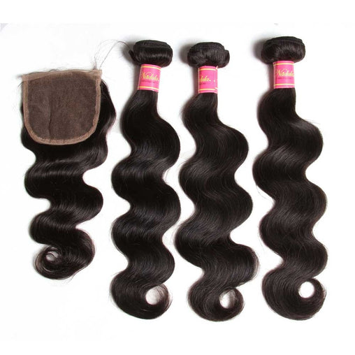 Peruvian Body Wave Virgin Human Hair 3 Bundles With Lace Closure - NiceHair