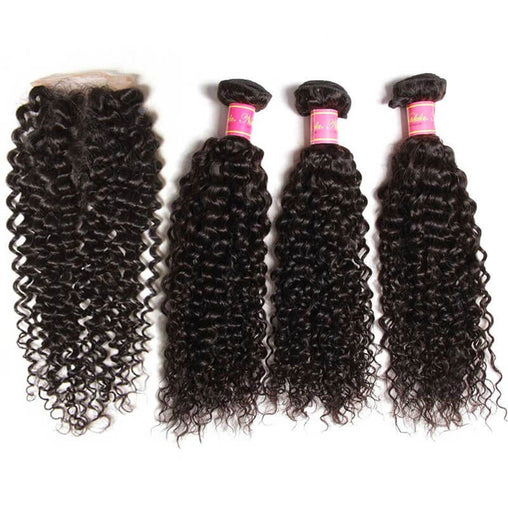 Peruvian Kinky Curly Virgin Human Hair 3 Bundles With Lace Closure - NiceHair