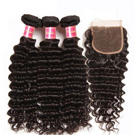 Peruvian Deep Wave Virgin Human Hair 3 Bundles With Lace Closure - NiceHair