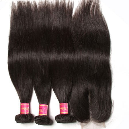 Peruvian Straight Virgin Human Hair 3 Bundles With Lace Closure - NiceHair