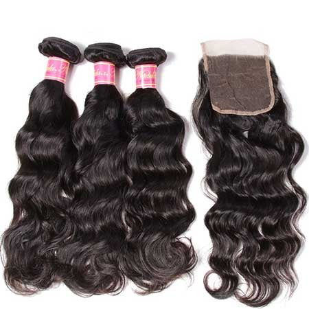 Peruvian Natural Wave Virgin Human Hair 3 Bundles With Lace Closure - NiceHair
