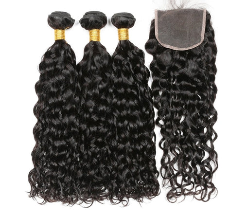 Peruvian Water Wave Virgin Human Hair 3 Bundles With Lace Closure - NiceHair