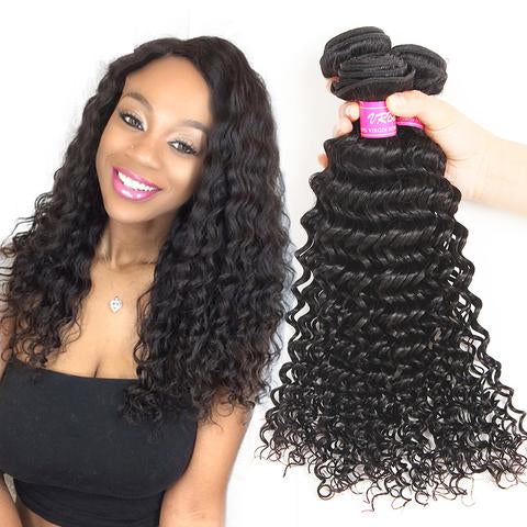 Cambodian Deep Wave Virgin Human Hair Weave Bundles Natural Color 8-28 Inches - NiceHair