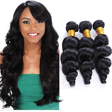 Peruvian Loose Wave Virgin Human Hair Weave Bundles Natural Color 8-28 Inches - NiceHair