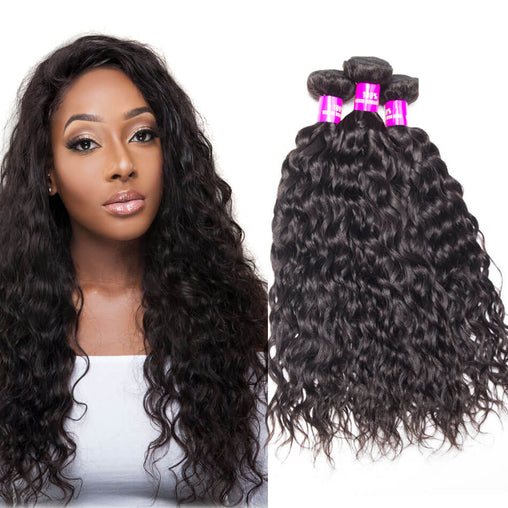 Malaysian Water Wave Virgin Human Hair Weave Bundles Natural Color 8-28 Inches - NiceHair