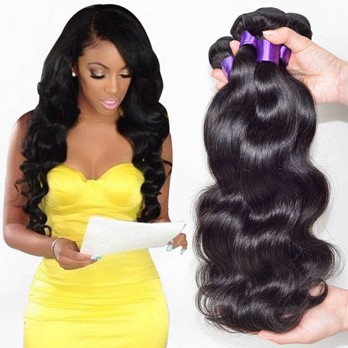 Peruvian Body Wave Virgin Human Hair Weave Bundles Natural Color 8-28 Inches - NiceHair