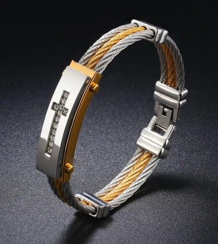 Stainless Steel Three Row Bangle/Bracelet