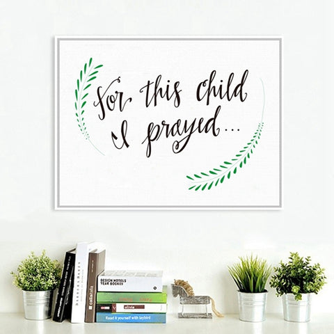 'For This Child I prayed' Canvas Painting Wall Art Decoration