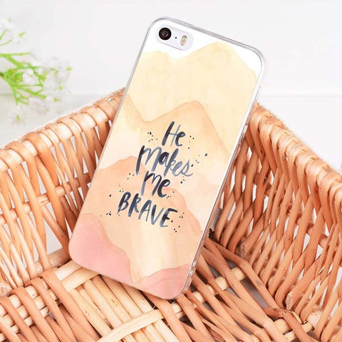 'He Makes Me Brave' iPhone Case
