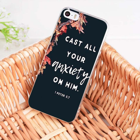 'Cast All Your Anxiety On Him' iPhone Case