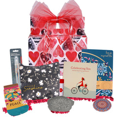 Celebrating You Valentine's Day Gift Basket - beyondbookmarks.com