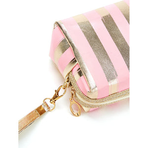 Metallic Striped Makeup Bag