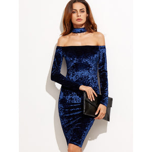 Bardot Velvet Dress With Choker