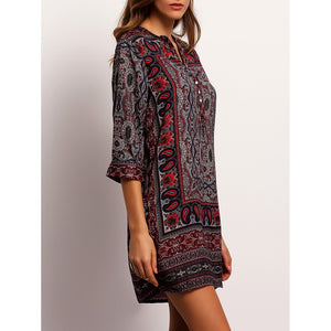 Pepper Tribal Print Shirt Dress