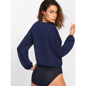 Lila Pleated Wrap Bodysuit