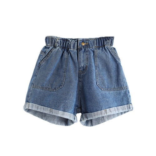 Rolled Hem With Pockets Casual Denim Shorts